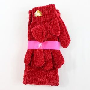 Betsey Johnson Red Headband & Glove Bow Set